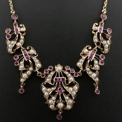 Circa 1910 14K Gold Ruby and Pearl Bib Necklace