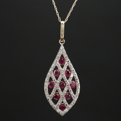 14K Gold Ruby and Diamond Pendant Necklace