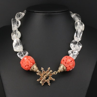 Beaded Rock Crystal Quartz and Coral Necklace With Sterling Silver Clasp