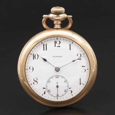 Swiss Zenith Gold Filled Open Face Pocket Watch, Circa 1920's