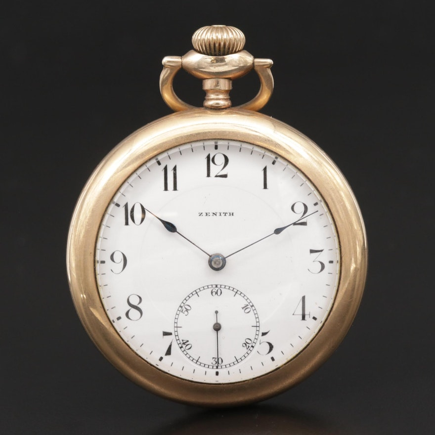 Swiss Zenith Gold Filled Open Face Pocket Watch, Circa 1920's