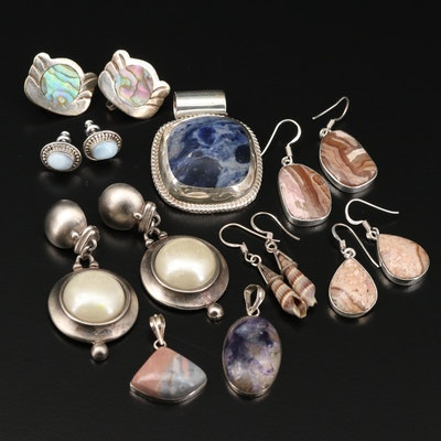 Mexican Sterling Silver Jewelry with Sodalite, Abalone and Shell