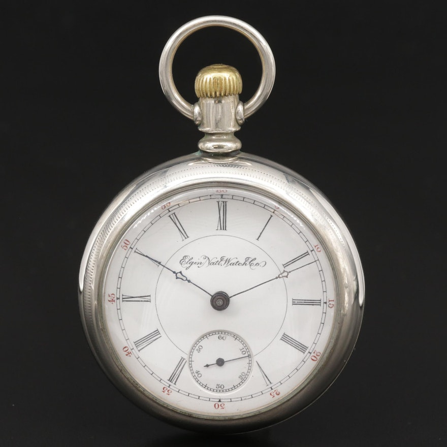 1893 Elgin National Watch Co. Nickel Open Face Pocket Watch
