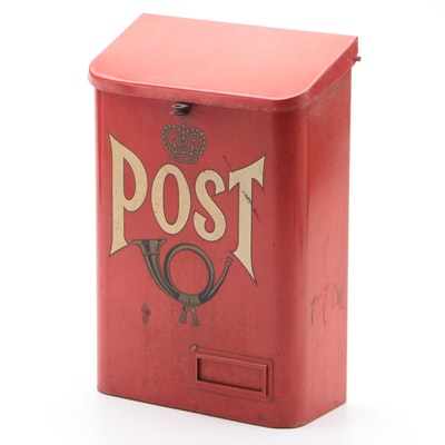 Swedish Post Metal Wall Mount Mailbox, Mid-20th Century