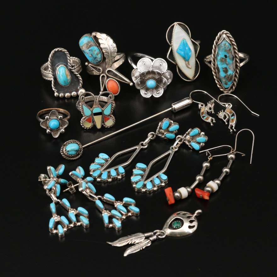 Southwestern Style Jewelry Selection Featuring Turquoise and Mother of Pearl