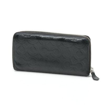 Coach Signature Black Cross Grain Leather Zip Wallet