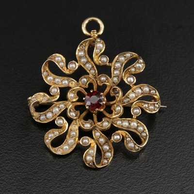 Circa 1910 14K Gold Garnet and Pearl Converter Brooch