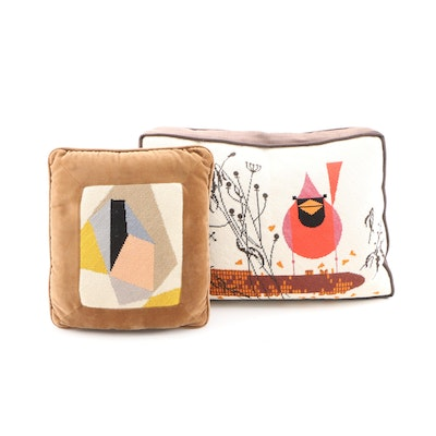 Needlepoint Pillows after Charley Harper and Other Abstract Painting