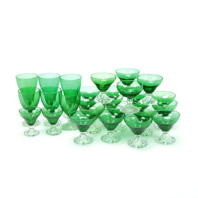 "Anchor Hocking ""Burple Green"" with Other Emerald Stemware"