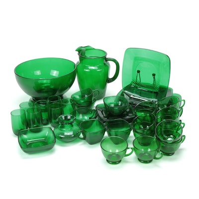 "Anchor Hocking ""Charm Forest Green"" Glass Tableware, 1950s"