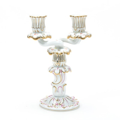"Herend Porcelain Candlestick with ""Chinese Bouquet"" Addition"