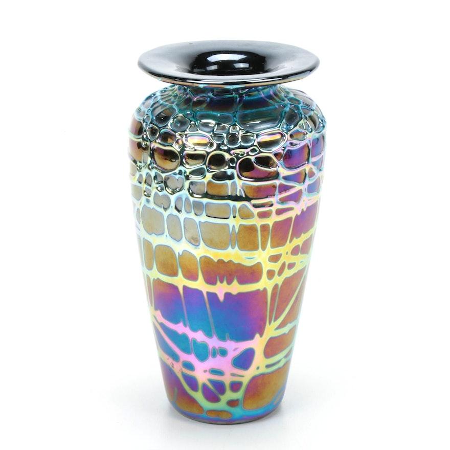 Black Iridescent Art Glass Vase, Signed