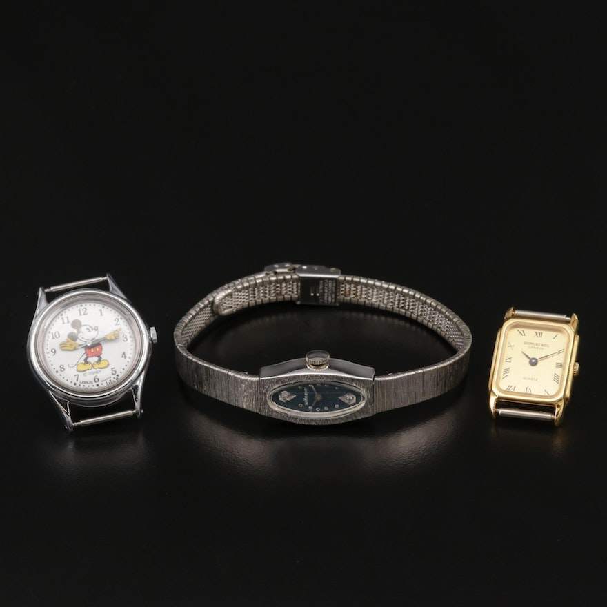 Wittnauer Diamond Dial Wristwatch with Lorus Mickey Mouse and Raymond Weil Watch