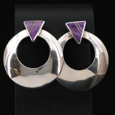 Ray Tracy Navajo Diné and Knifewing Segura Apache Sterling Sugilite Earrings