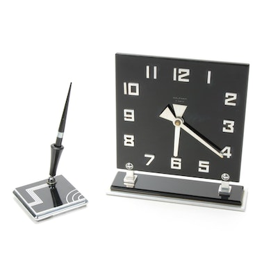 Art Deco Chrome and Glass Mantel Clock and Pen Holder, 1940s