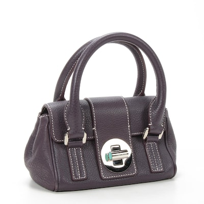 Tiffany & Co Aubergine Pebbled Leather Top Handle Bag with Contrast Stitching