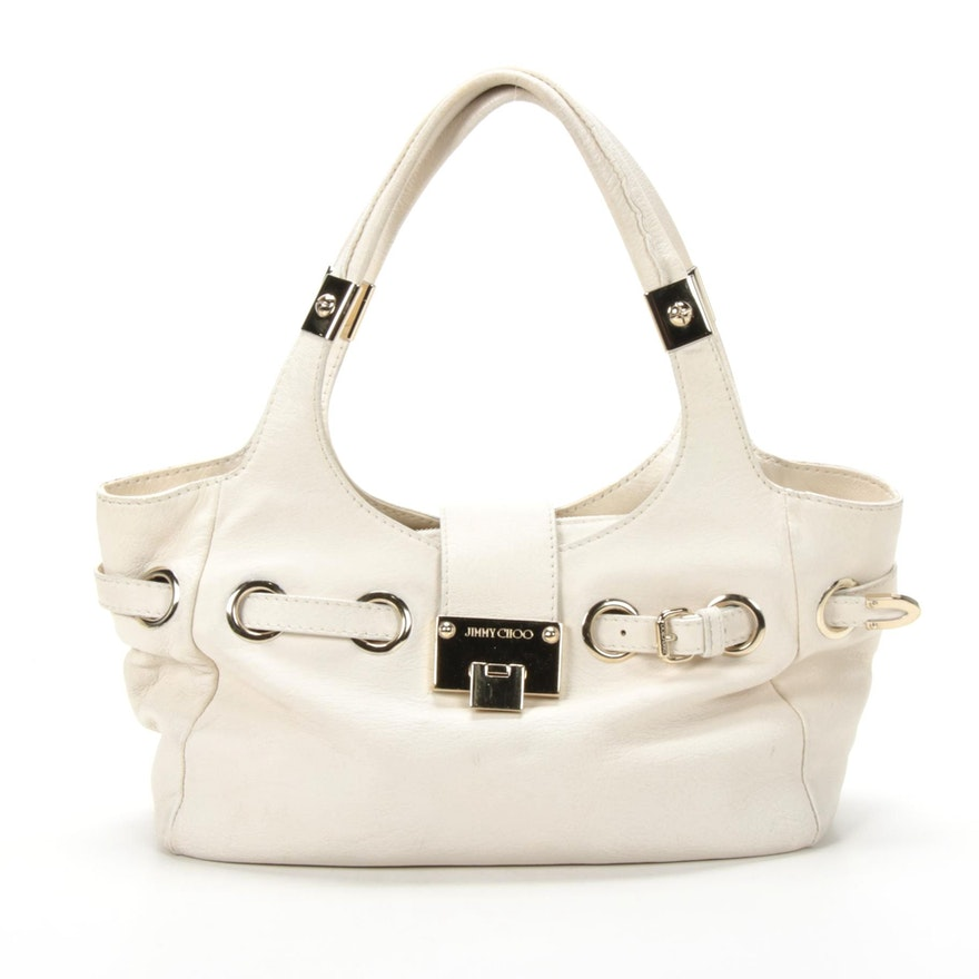 Jimmy Choo Off-White Grained Leather Shoulder Bag