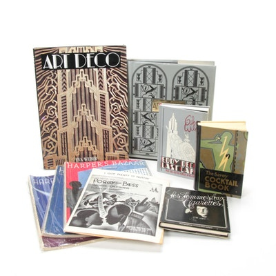 Art Deco and 1930s Themed Books and Magazines Including Harper's Bazaar