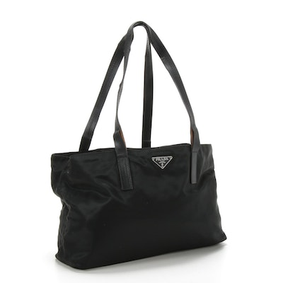 Prada Black Tessuto Nylon Shoulder Bag Trimmed in Leather