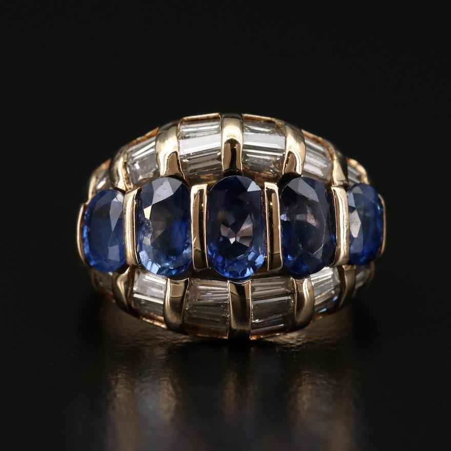 18K Gold Blue Sapphire and 1.25 CTW Diamond Ring