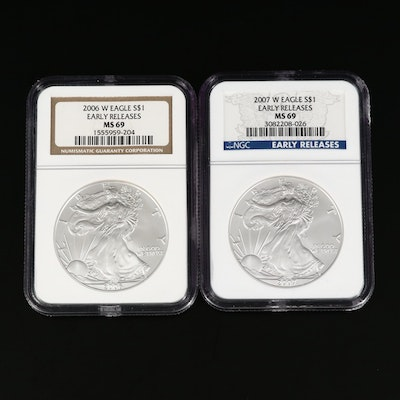 NGC Graded MS69 Silver Eagle Dollars Including 2007 'Early Release'