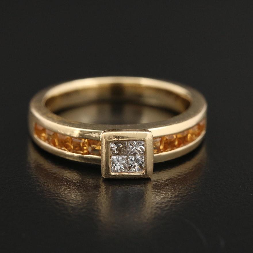 18K Yellow Gold Diamond and Citrine Ring