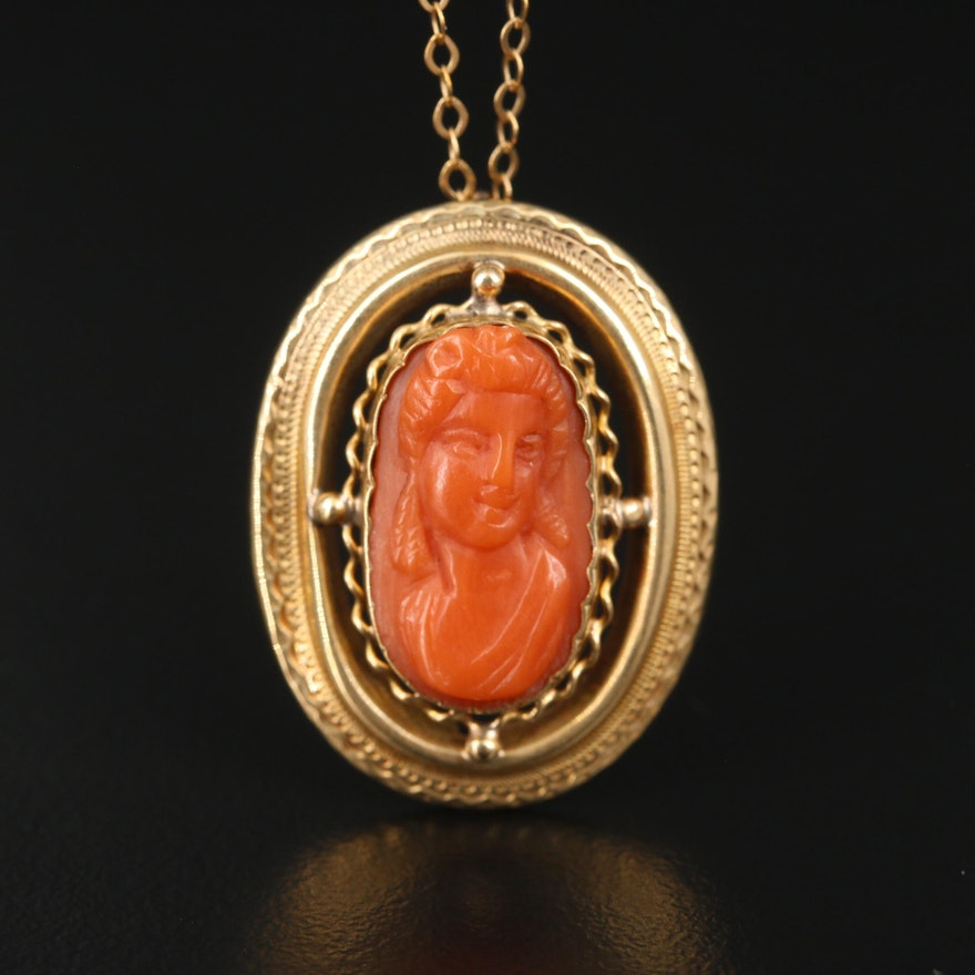 Vintage 14K Yellow Gold Carved Coral Pendant on Cable Chain Necklace