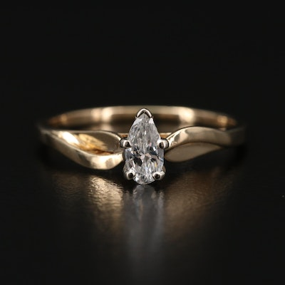 14K Yellow Gold 0.33 CT Diamond Solitaire Ring