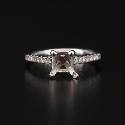 14K Gold Diamond Semi-Mount Ring
