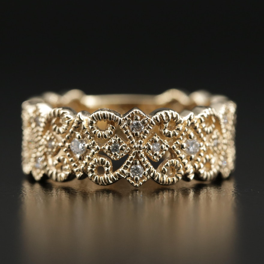 14K Gold Diamond Openwork Band