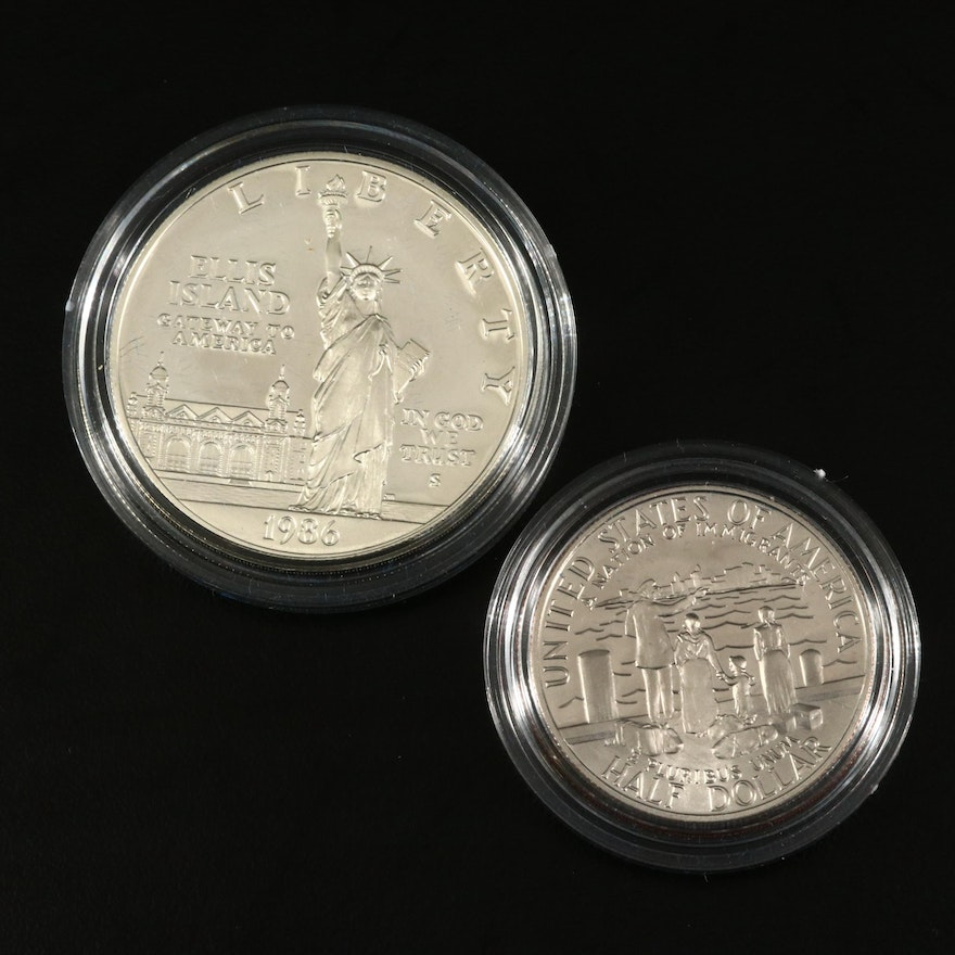 1986-S US Mint Liberty Silver Dollar and Half Dollar