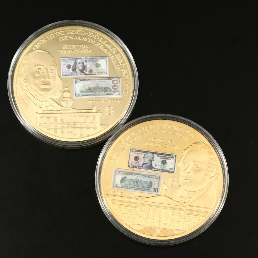 American Mint Gold Plated Commemorative Franklin and Hamilton Coins