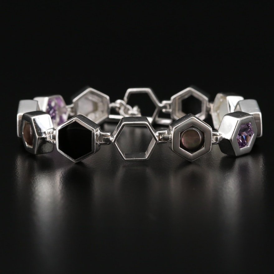 Sterling Silver Amethyst, Black Onyx and Mother of Pearl Bracelet