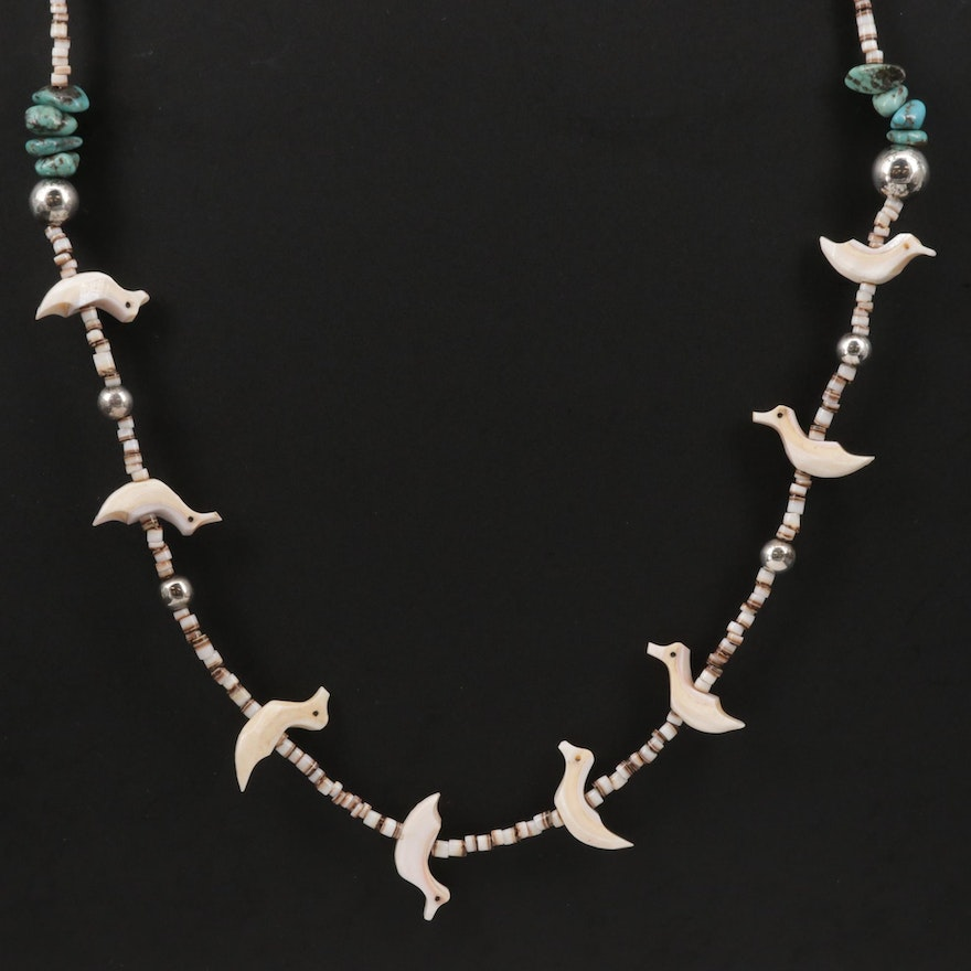 Carolyn Pollack Sterling Silver Turquoise and Shell Fetish Style Necklace