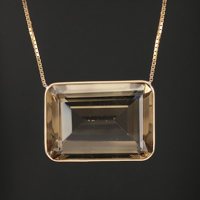 14K Yellow Gold Citrine and Gemstone Station Necklace