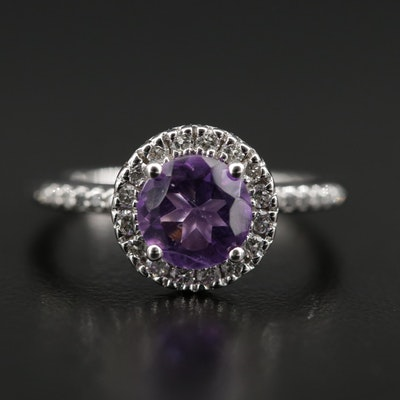 14K White Gold Amethyst Ring with Diamond Shoulders and Halo