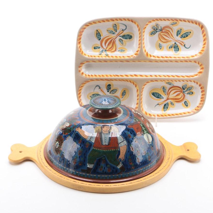 Hand-Painted Relish Tray with Handgeschnitzt Ceramic Cheese Keeper
