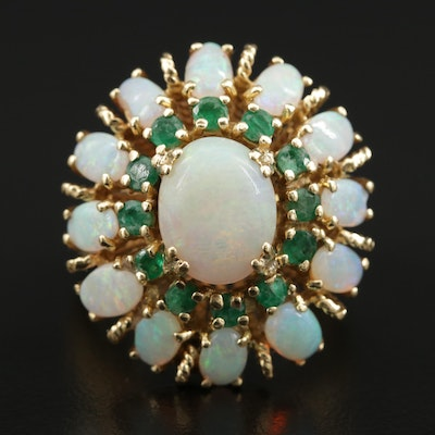 Vintage 18K Gold Emerald and Opal Bombé Ring