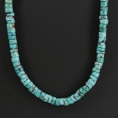 Signed Southwestern Sterling Silver Turquoise Necklace