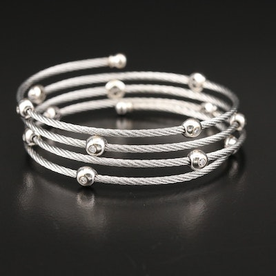 Charriol 18K Gold Diamond Accented Cable Bracelet