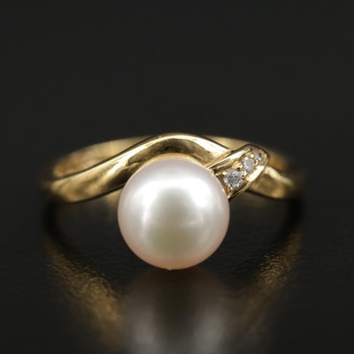 Mikimoto 18K Gold Pearl and Diamond Ring