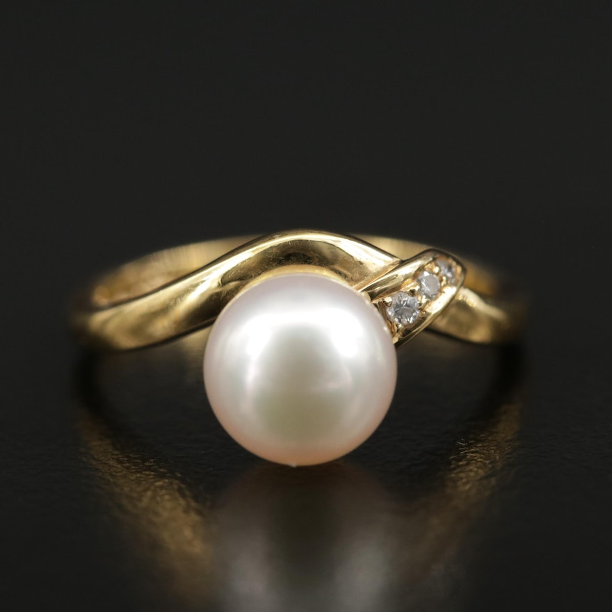 Mikimoto 18K Gold Pearl and Diamond Ring