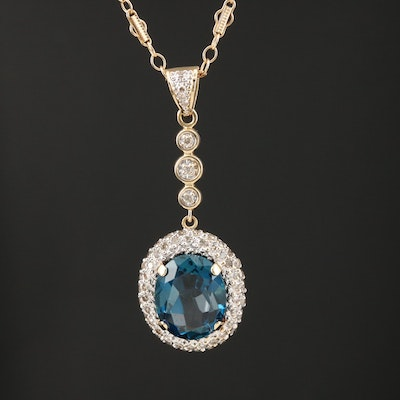 14K Yellow Gold Topaz and Diamond Pendant Necklace