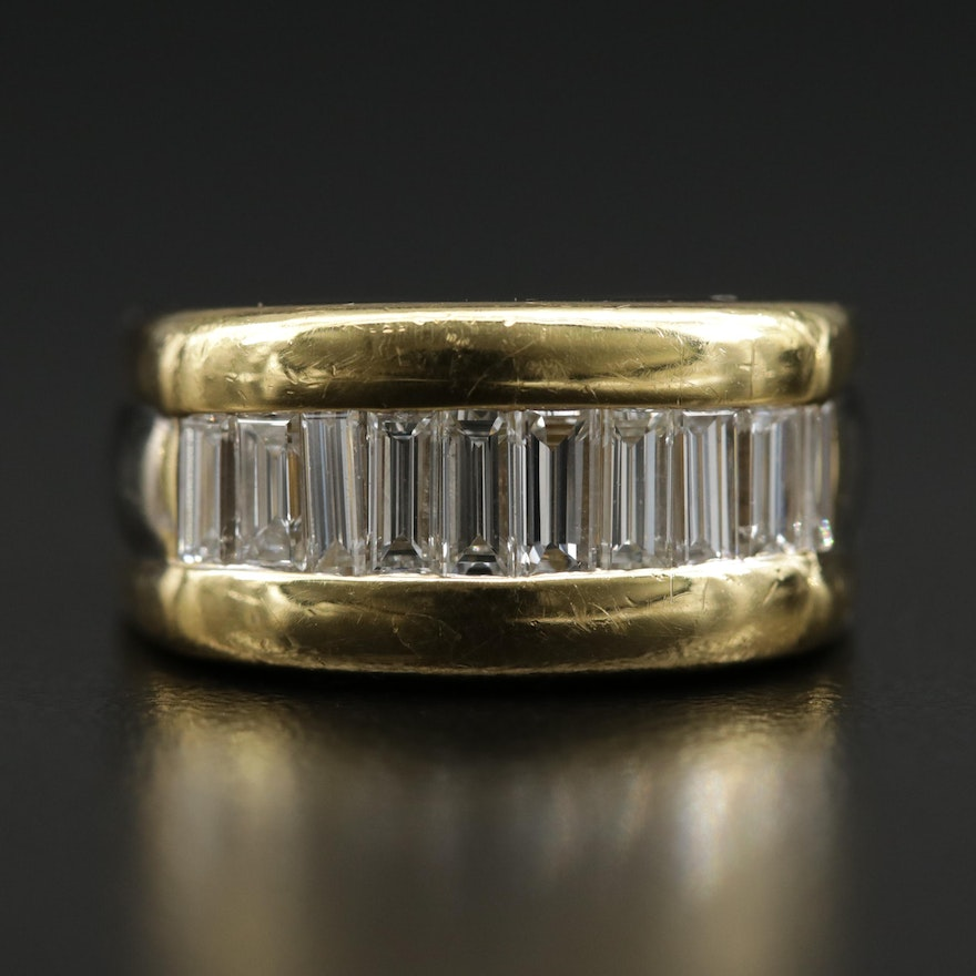 18K Yellow Gold 1.25 CTW Diamond Ring with White Gold Accents