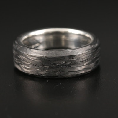 David Yurman Sterling Silver Band Featuring Forged Carbon Inlay