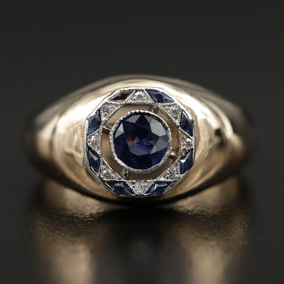 Vintage 14K Gold Sapphire, Diamond and Synthetic Sapphire Ring with Platinum Top