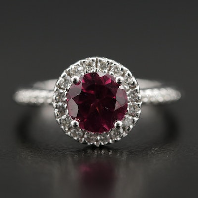 14K White Gold Rhodolite Garnet Ring with Diamond Shoulders and Halo