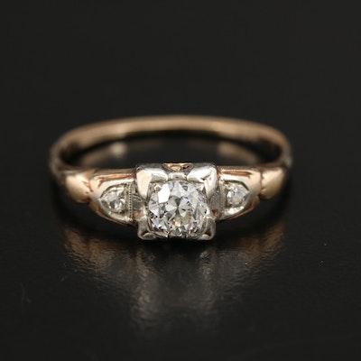 Circa 1940s 14K Yellow and White Gold Diamond Ring
