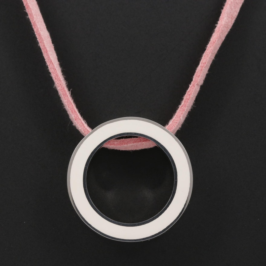 Movado Sterling Silver Enamel Necklace