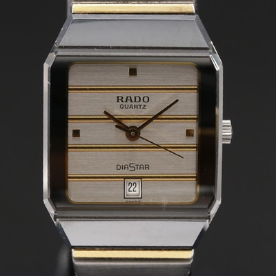 Swiss Rado Diastar Date Stainless Steel and Ceramic Wristwatch